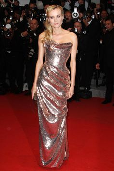 I love the shape/structure of this dress! Must find a wedding dress like this to try on! ~~~ Diane Krueger in @Vivienne La Westwood + more stunners at Cannes! Who's your favorite?