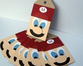 It's Mario Time - Hand-Pieced Super Mario Tags for Treat Bags or Scrapbooks