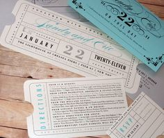 Formal Vintage Ticket  Wedding Invitation by LetterBoxInk on Etsy, $6.50