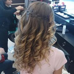 prom inspiration tanchic91 waterfall braid & curls