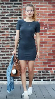 Grey dress, casual look paired with sneakers Tess Christine