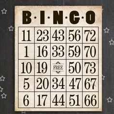 Free printable vintage inspired Bingo cards perfect for your next round of bingo.