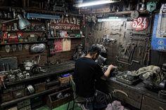 Inside the workshop at Heiwa, one of Japan's top custom motorcycle builders.