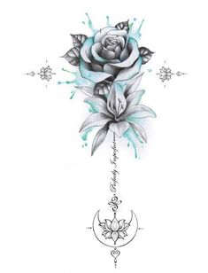 Perfectly Imperfect Rose, Lily, Moon Unalome Tattoo – flower tattoos designs – tattoo tatuagem - Famous Last Words Rose Drawing Tattoo, Watercolor Rose Tattoos, Rose Drawings, Tattoo Sketches, Tatoo Rose, Flower Tattoo Drawings, Drawing Art, Unalome Tattoo, Font Tattoo