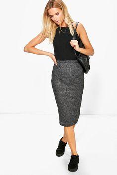 #boohoo #dress Ribbed Bodycon Midi Skirt grey at #boohoo.com