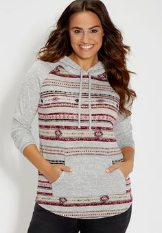 plus size ultra soft hoodie in ethnic print -#maurices