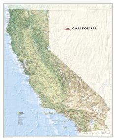 National Geographic - California Map Laminated Poster Poster von National Geographic bei AllPosters.de