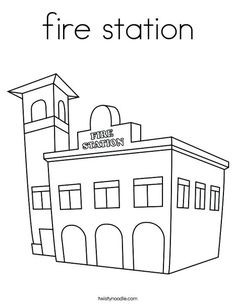 Fire Station Coloring Page from TwistyNoodle.com
