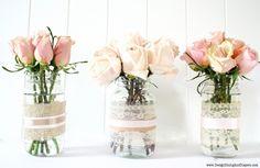 Mason Jar Vases and Votive Candles from recycled jars Pot Mason Diy, Lace Mason Jars, Deco Pastel, Deco Floral, Floral Design, Diy Flowers, Flower Vases, Wedding Flowers, Pretty Flowers