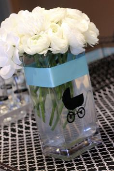 Breakfast at Tiffany's Baby Shower…fill with pink marbles for a girl instead of flowers!