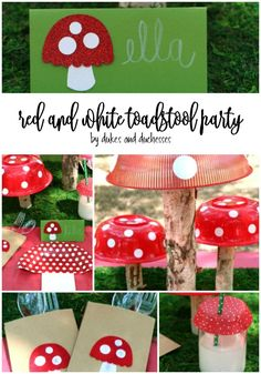 Need a cute party idea? Create a red and white toadstool party with simple but adorable DIY and crafty details! Creative Crafts, Fun Crafts, Crafts For Kids, Paper Crafts, Creative Ideas, Diy Ideas, Birthday Party Decorations, Party Themes, Birthday Parties