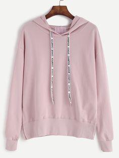 Sweat-shirt avec capuche - rose -French SheIn(Sheinside)