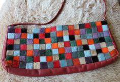 Vintage Italian Purse  1970s Fashion patchwork pony by sarahlista, $42.50