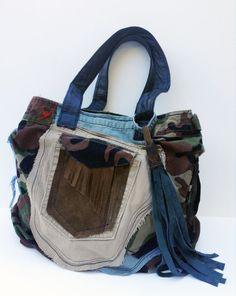 Suede Handbag Hobo Edgy Comouflage Bag  Raw Denim by adenkindesign