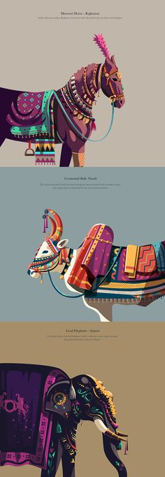 Design Discover Decorated Animals The series is a tribute to some of the celebrated animals across India and their significance in some of the Indian traditions. A modern day take on their depiction in carrying forward the rich traditions. Indian Illustration, Digital Illustration, Graphic Illustration, Posca Art, India Art, Photocollage, Contemporary Paintings, Contemporary Bar, Contemporary Furniture