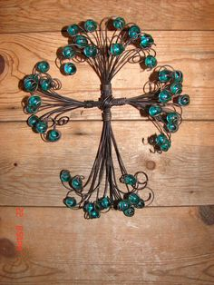Hand made wire and green marble cross by smorepower on Etsy, $25.00