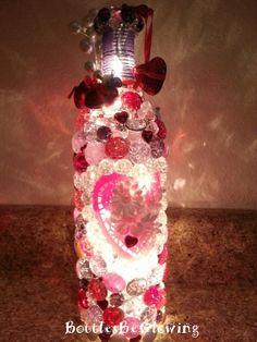 Valentine's Wine Bottle Light by BottlesBeGlowing on Etsy, $25.00
