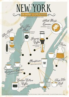 Christina Luka - Based off of this NY Times article, with coffee in hand, I illustrated this map outlining the nine coffees featured. Travel Logo, Travel Maps, Raleigh Map, Design Thinking, Nyc Coffee Shop, Coffee Shops, Brew Bar, Map Outline, National Parks Usa