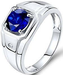 Men Sapphire Ring 14Kt White Gold Natural Diamond Sapphire Engagement Ring