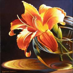 Orange Lily, Oil painting.  Varvara Harmon Oil