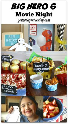 How to host a BIG HERO 6 themed movie night at home, featuring a Build a Baymax printable and fun themed food ideas #bighero6 #spon