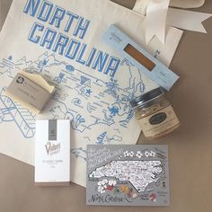 Greet guests with a taste of North Carolina. They will love you for it! #welcomebags #madeinRaleigh . Maptote Wedding Welcome Bag