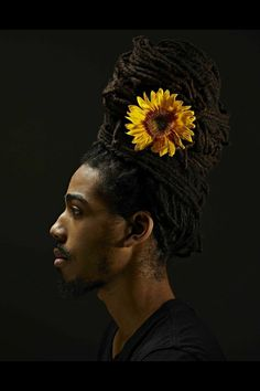 Locs n flowers for men ! - Hairstyle for black women Afro Punk, Blacker Than Black, Flowers For Men, Curly Hair Styles, Natural Hair Styles, Dreads Styles, Natural Man, Protective Hairstyles, Loc Hairstyles