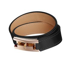 Drag Double Tour Hermes bracelet in Box calfskin, rose gold plated hardware circumference up to 5.7""