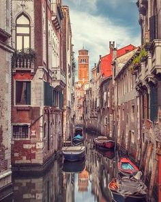Canal plus: Venice with the tower of the Santa Maria Gloriosa dei Frari in the distance. Venice Map, Venice Canals, Venice Travel, Venice Beach, Venice Italy, Italy Travel, Venice Food, Gondola Venice, Carnival Venice
