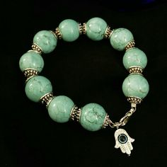 Bracelet Turquoise dyed howlite stone beads with silver plated metal. Cute accessory for any outfit.   Handmade by 1eyed 1der designs (that's me!)   PRICE IS FIRM. Bundle and save! Sorry, no trades. 1eyed 1der designs  Jewelry Bracelets