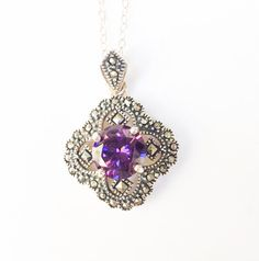 Hey, I found this really awesome Etsy listing at https://www.etsy.com/listing/188506427/sterling-silver-purple-cz-necklace