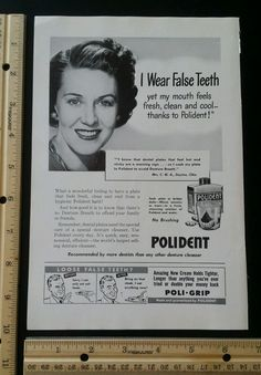 Polident Poli-Grip magazine ad from 1949 old vintage slot 7