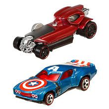 Hot Wheels Marvel 1:64 Scale Car 2 Pack with Comic Book  Captain America vs. Red…