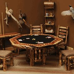 We offer handcrafted log poker tables made of cedar, juniper, aspen and pine, as well as other log game tables. Browse our rustic furniture catalogs now. Free Delivery to 48 states.