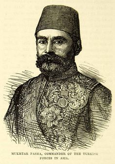 1883 Wood Engraving Mukhtar Pasha Military Commander Russo Turkish War XEGA3 - Period Paper
