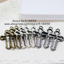 Três cores Metal de liga de zinco cruz religiosa pingente encantos para fazer jóias pingente encantos 30 pçs/lote 22 * 38 mm 7038(China (Mainland))