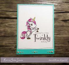 LOTV - Simply Sweet Stamps Unicorns by Sabrina Lamarina Unicorn Horse, Kokeshi Dolls, Initials, Elephant, Card Making, Kitty, Unicorn Cards, Cool Stuff, Birthday