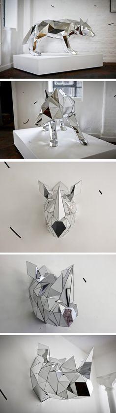 low poligon mirror sculptures