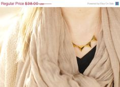 Mothers Day SALE Gold triangle necklace,Geometric Statment Necklace,  Triangle Charm Necklace, Triangle Charm Statement Necklace, boho chic,