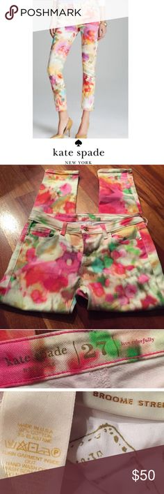 Kate Spade Watercolor Ankle Multi Colored Jeans Kate Spade Watercolor Multi Colored Broome Street Cropped Jeans. 8.5 inch rise (mid). 27 inch inseam. New without tags. No flaws or stains. Size 27 which is a 4. Feel free to make an offer. kate spade Jeans Ankle & Cropped