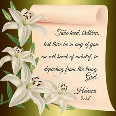 """""""Take heed, brethren, lest there be in any of you an evil heart of unbelief, in departing from the living God. Scripture Verses, Bible Scriptures, Bible Quotes, Christian Messages, Christian Memes, Faith Bible, Bible Truth, Philippians 4"""