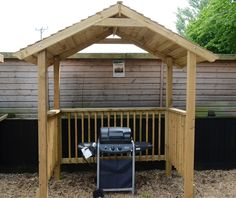 Softwood garden bbq with either pent or apex roof. Large enough to accommodate chairs and use as a pergola. Wooden Pergola, Diy Pergola, Pergola Cover, Pergola Ideas, Cedar Pergola, Pergola Kits, Bbq Shelter Ideas, 1001 Palettes, Bbq Shed
