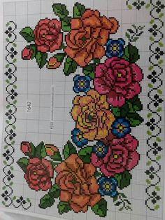 Cross Stitch Flowers, Cross Stitch Embroidery, Counted Cross Stitches, Cross Stitch Designs, Bouquets, Dots, Dressmaking
