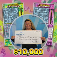 Meet out first big winner on this beautiful Monday morning - Jasmina Kliko of #NorthLiberty. She bought a $100,000 Mega Crossword scratch ticket at Casey's General Store, 2798 Commerce Drive in #Coralville and won a $10,000 prize! #WooHooForYou