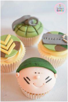 Army Themed Cupcakes - Cake by Dollybird Bakes Military Cupcakes, Army Cake, Military Cake, Army Themed Birthday, Army Birthday Cakes, Army's Birthday, Camp Cupcakes, Themed Cupcakes, Cupcake Cakes