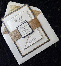 Glitter Wedding Invitation, Gold Glitter Wedding  Invitation,  Elegant Wedding Invitation, Gold Wedding Invitation, Wedding Invitation by InvitingCardCreation on Etsy https://www.etsy.com/listing/386451316/glitter-wedding-invitation-gold-glitter