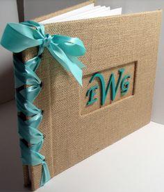 Custom Handmade Monogram Wedding Guestbook/Album - Burlap w/Aqua Ribbon (custom colors available)