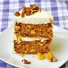 Pineapple Pecan Carrot Cake with Vanilla Buttercream Frosting -  Did I miss National Carrot Cake Day or something?...because this cake has been very popular on our website recently. This version adds some fresh golden pineapple for added moisture and outstanding flavor. The lightly toasted pecans pair perfectly with the spicy carrot cake too. Just to change it up a little, instead of cream cheese icing, some luscious vanilla buttercream frosting is excellent on this scrumptious cake.