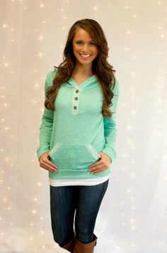 The Pink Lily Boutique - Mint Weekend Hoodie, $34.00 (http://thepinklilyboutique.com/mint-weekend-hoodie/)