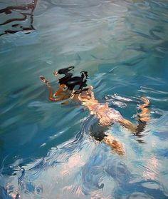 """Pintura Hiperrealista de 'Benjamin Anderson' intitulada """"Ela respirou profundamente"""" (""""she breathed too deeply) pintada com tinta óleo sobre uma tela de linho tamanho 230cm x 198cm."""